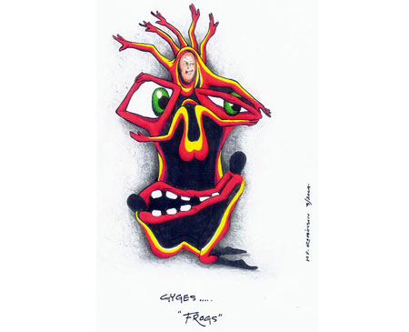 Martin P. Robinson puppet designs for The Frogs