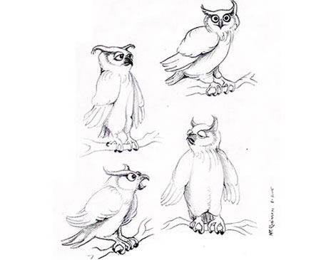 Martin P. Robinson puppet designs for Gravis The Owl