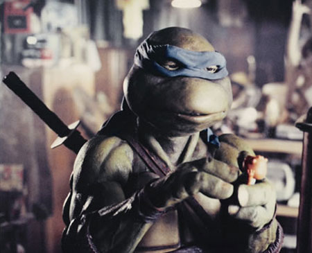 Martin P. Robinson performs Leonardo's head in Teenage Mutant Ninja Turtles