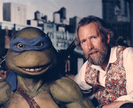 "Jim Henson and Leonardo on the set of ""Teenage Mutant Ninja Turtles."""