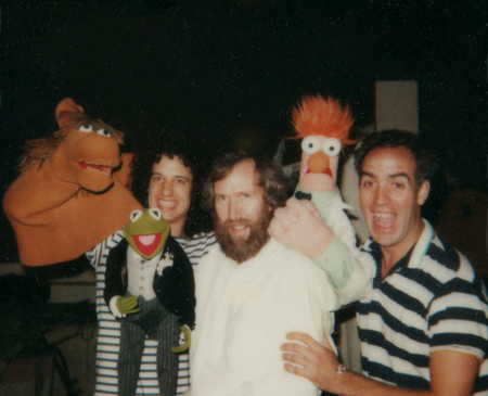 "With Jim Henson and Richard Hunt on the set of ""Muppets Take Manhattan."""